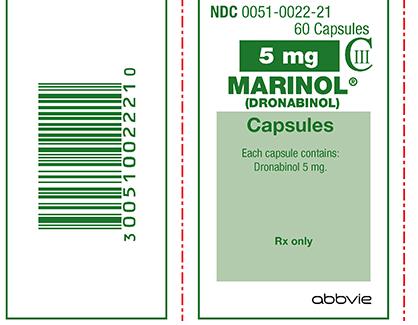 """קופסא של קפסולות מארינול 5 מ""""ג. הלוגו בפינה הימנית העליונה, של האות C עם 3 בספרות רומיות, מציין שמדובר בסם מסוכן מדרגה שלישית."""